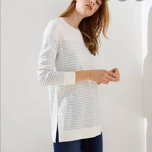 Stripes Side Slit Tunic Sweater
